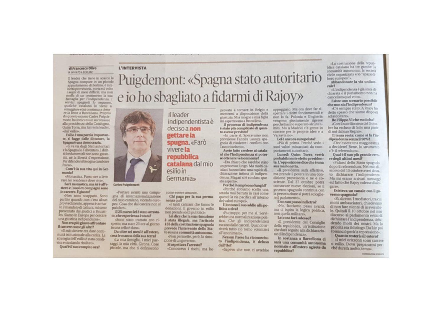 """Puigdement: """"Spagna stato autoritario e io ho sbagliato a fidarmi di Rajoy"""""""