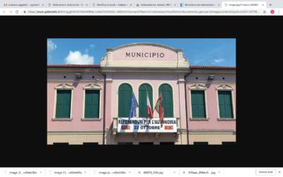 Striscione pro referendum in municipio, è polemica a Vedelago