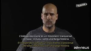 """Catalogna, l'appello di Pep Guardiola per """"Tsunami Democratic"""""""